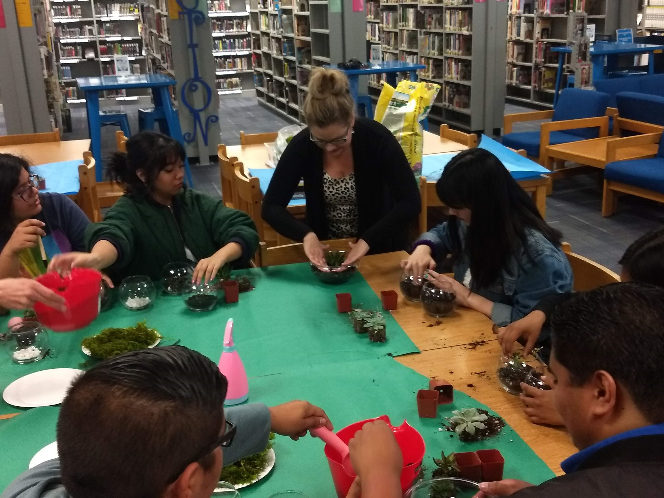 Students planting succulents as part of the 2019 EduBucks grant program