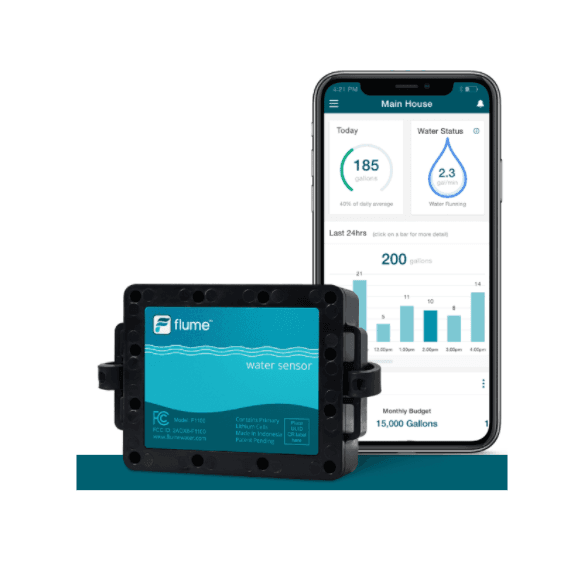 Flume Water Sensor Device attaches to your water meter and detects real-time water use and detects l