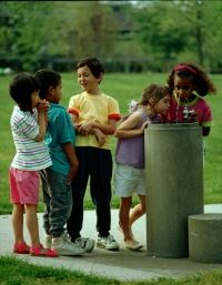 Kids at a Drinking Fountain