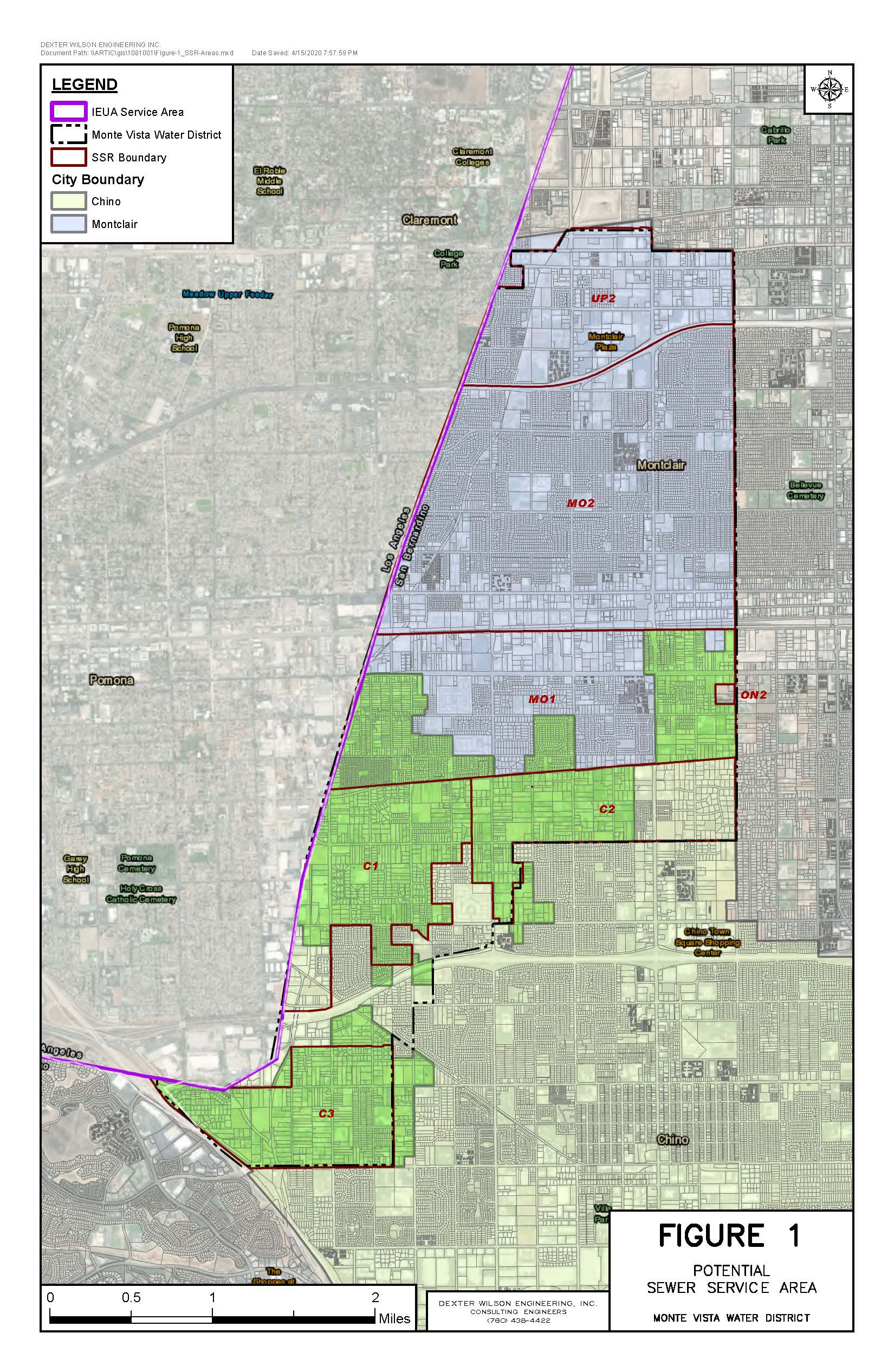 Map showing Montclair and Chino city boundaries and potential sewer service in unincorporated area.